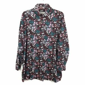 Woman Within Graphic Print Long Sleeve Blouse Top